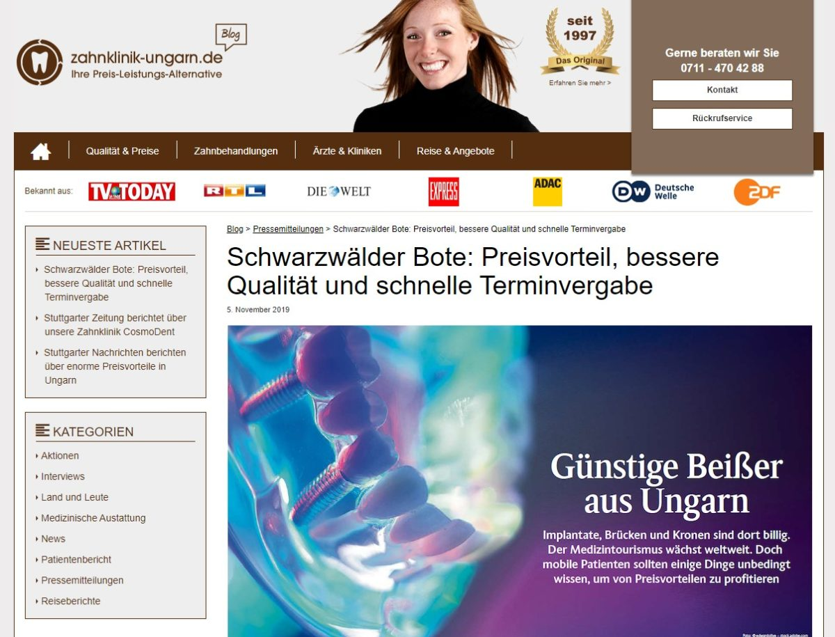 Schwarzwälder Bote Artikel zu HD-Dental auf zahnklinik-ungarn.de