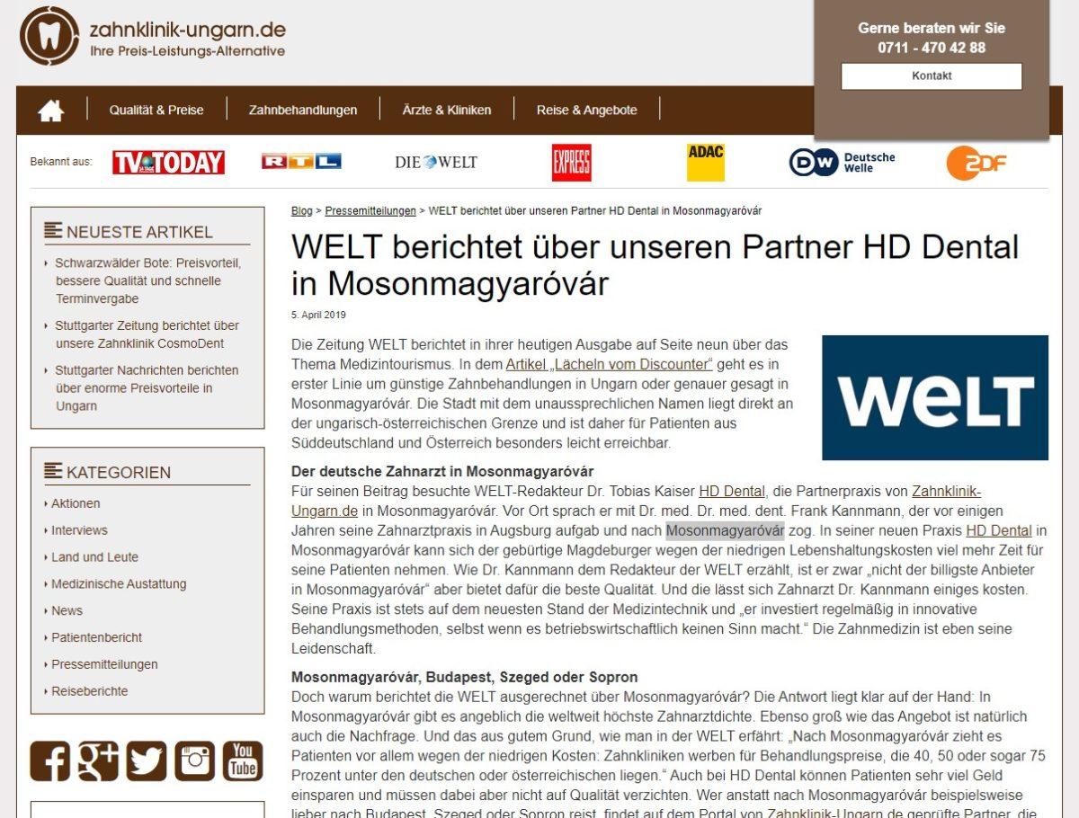 WELT Artikel zu HD-Dental auf zahnklinik-ungarn.de